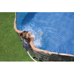 Piscine tubulaire Ovale Bestway Power Steel comfort Jet aspect pierres 6,10 x 3,66 x 1,22m