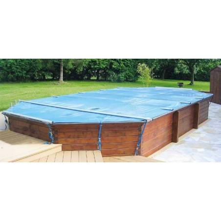 Bâche à barres sur mesure piscine bois