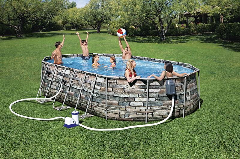piscine aspect pierres comfort jet series ovale 6.10 x 3.66 x 1.22m