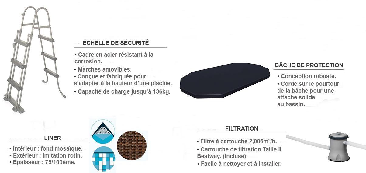 équipements piscine tubulaire ovale rotin 427 x 250 x 100