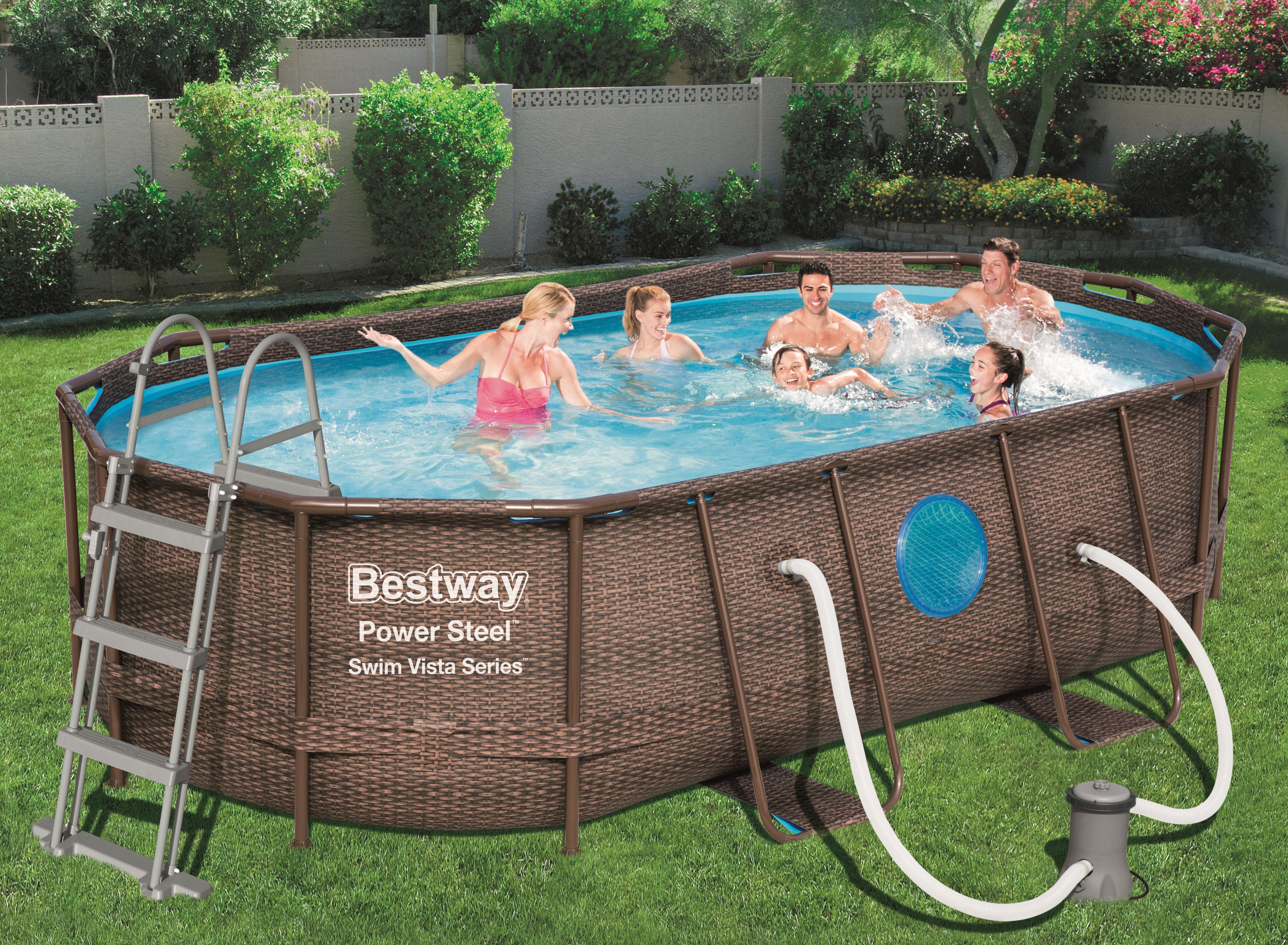 piscine tubulaire ovale imitation rotin 427 x 250 x 100