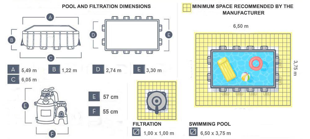 dimensions power steel tubular pool 5.49 x 2.74 x 1.22m