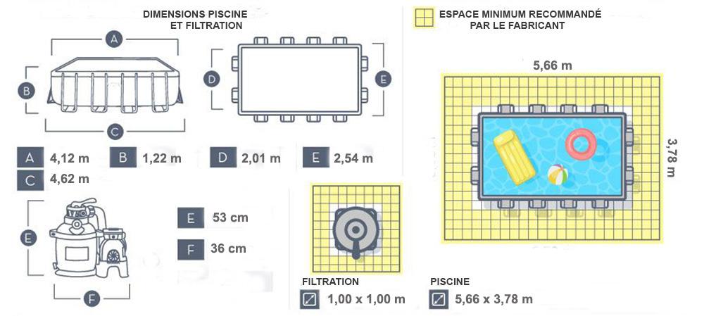 dimensions piscine power steel 4,12 x 2,01 x 1,22m