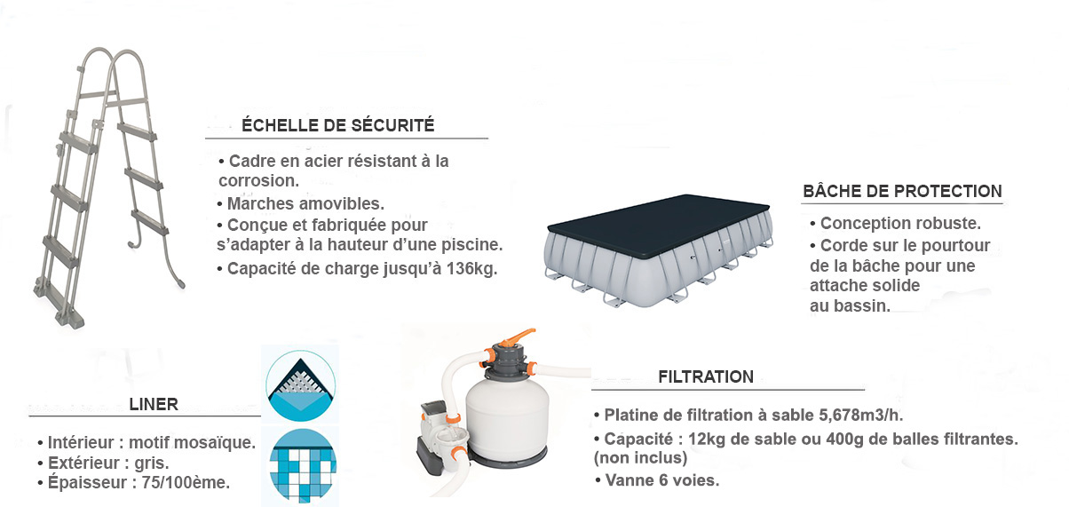 piscine tubulaire rectangulaire power steel 5,49 x 2,74 x 1,22m