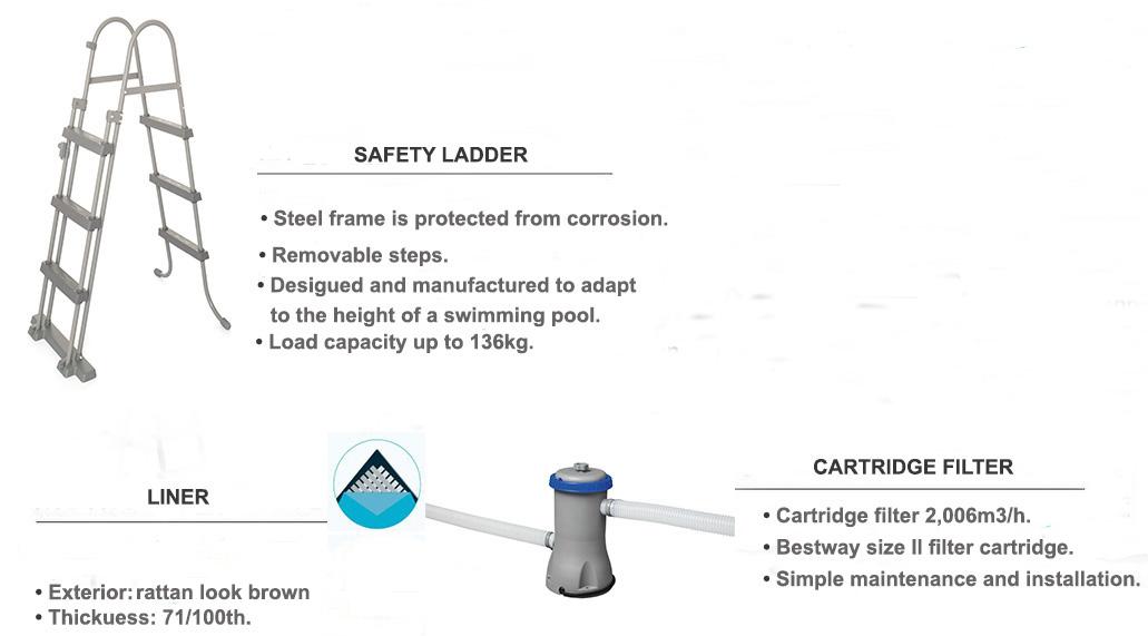 equipment includes steel pro round 3.66 x 1.00m rattan look brown