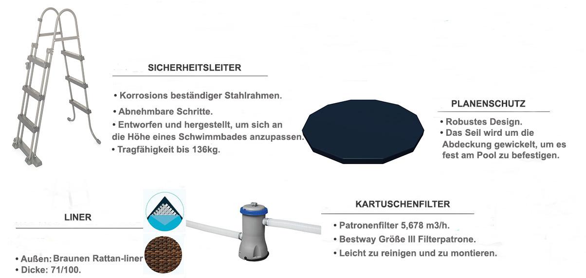 equipements piscine tubulaire ronde rotin marron 4.88 x 1.22m