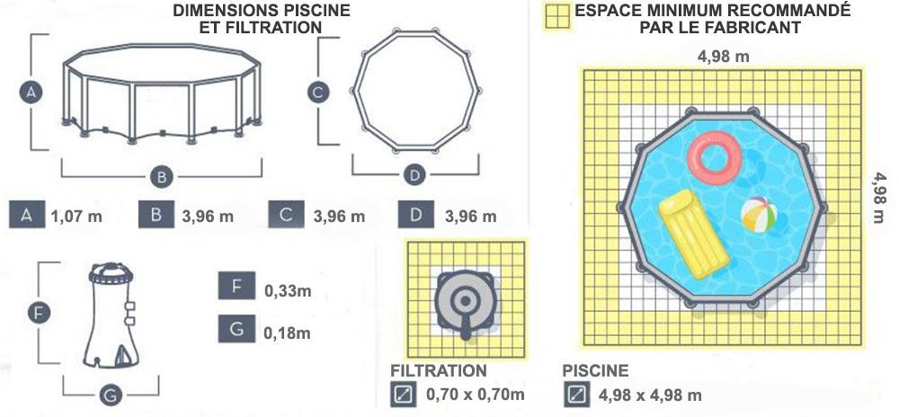 Dimensions piscine power steel 3.96 x 1.07m rotin beige