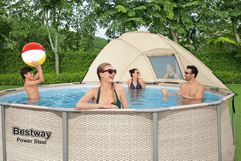 piscine tubulaire ronde power steel avec canopy 3.96 x 1.07m