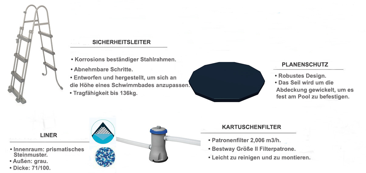 equipements piscine tubulaire steel pro max 3,66 x 1,22m
