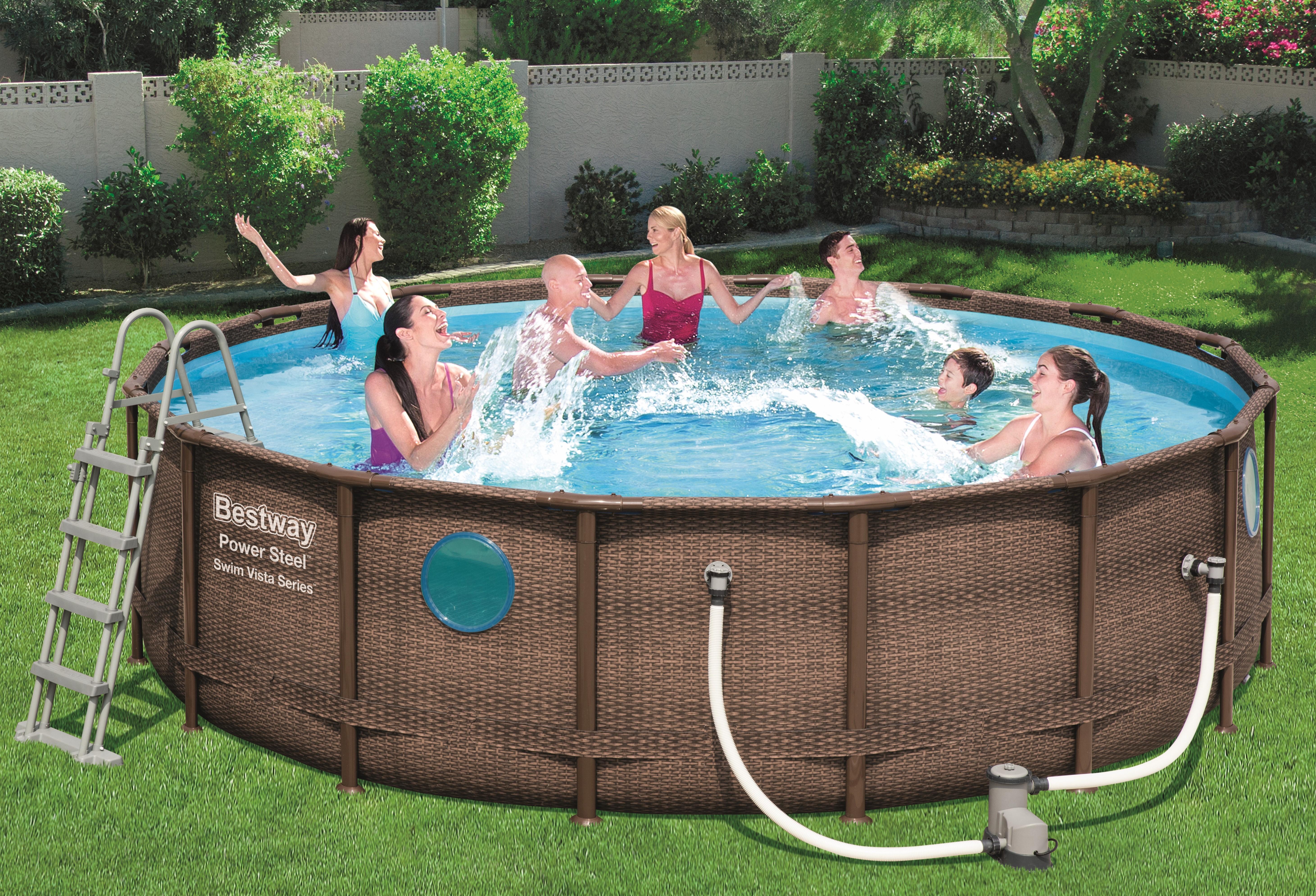 piscine power steel vista rotin marron 4.88 x 1.22m