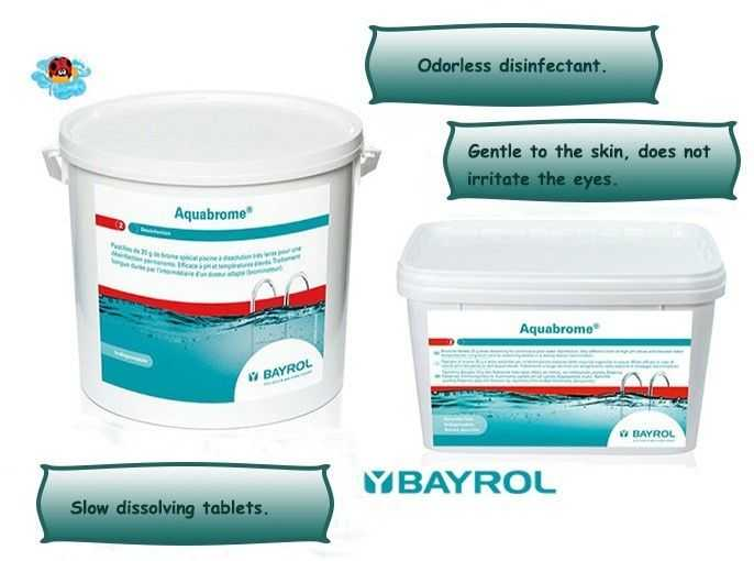 aquabrome bayrol, odorless disinfectant, slow dissolving tablets