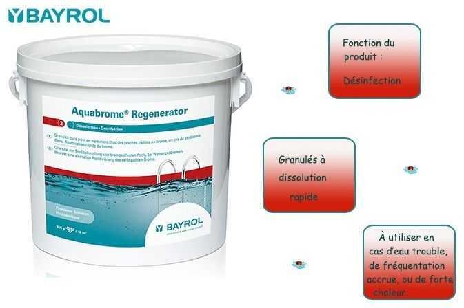 aquabrome, regenerator, bayrol, eau trouble, forte frequentation, chaleur, concentration de brome faible