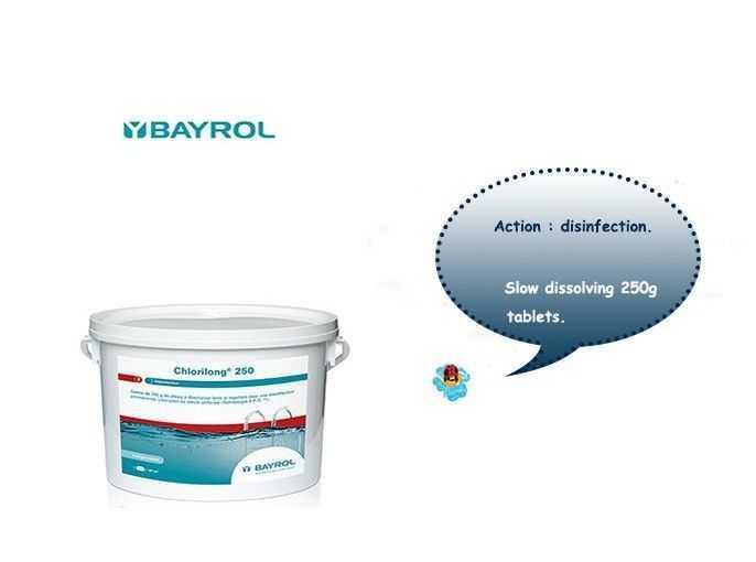 chlorilong 250, bayrol, slow dissolving 250g tablets