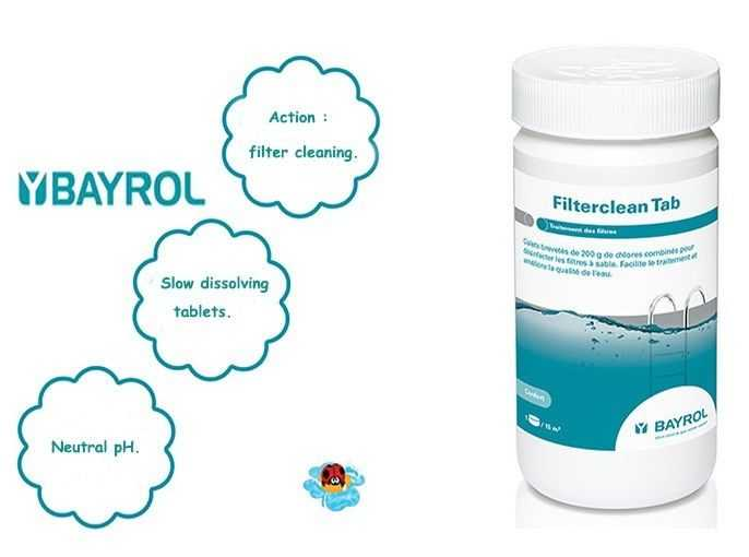 filtercleantab, bayrol, action filter cleaning