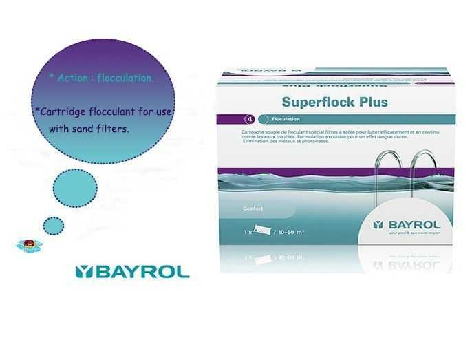 superflock bayrol, cartridge flocculant for use with sand filters