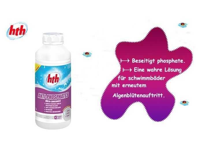 hth, beseitigt phosphate, eine praktischere dosierkappe