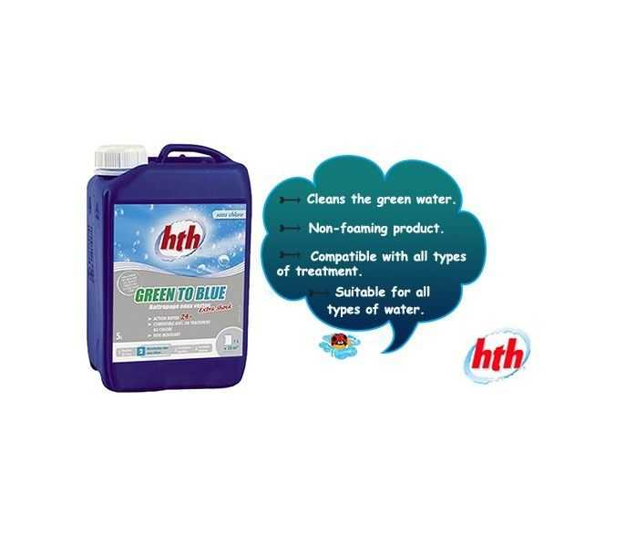 non foaming product, hth, green to blue