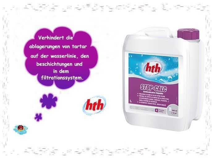 verhindert die ablagerungen von tartar auf der wasserlinie, hth, stop calc