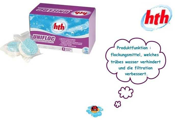 flocculant which prevents the murky waters and improves the filtration, hth, unifloc