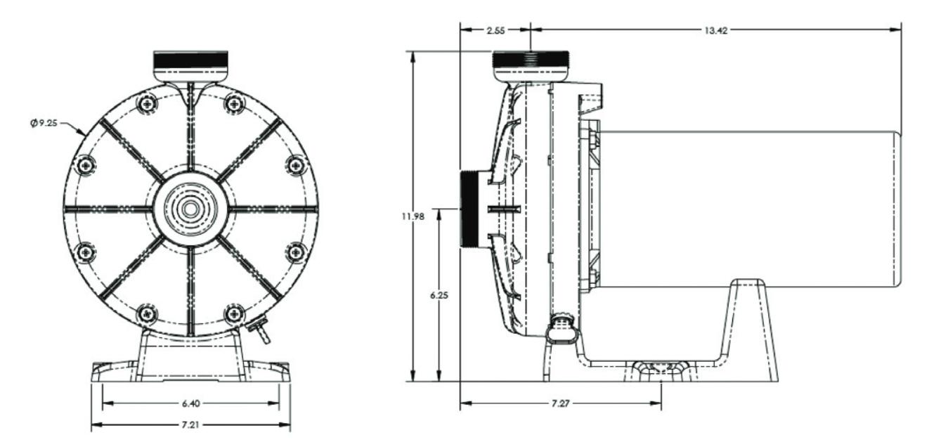 dimensions booster pump hayward