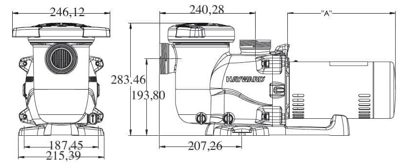 dimensions pompe max flo xl hayward