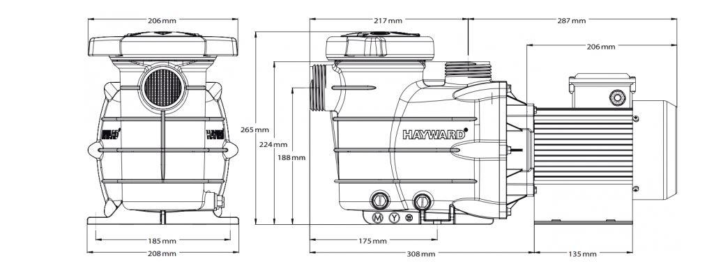 dimensions pompe powerline hayward
