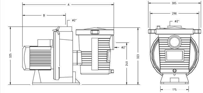 dimensions pompe ultra flow, pompe piscine pentair