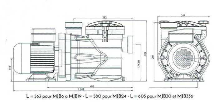 dimensions des pompes de filtration piscine MJB