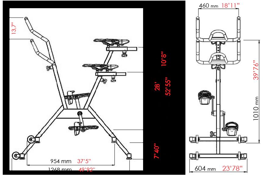 dimensions aquabike poolbiking one plus