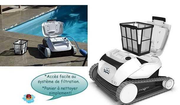 manipulation sans effort, accès par le haut, dolphin e10, robot piscine