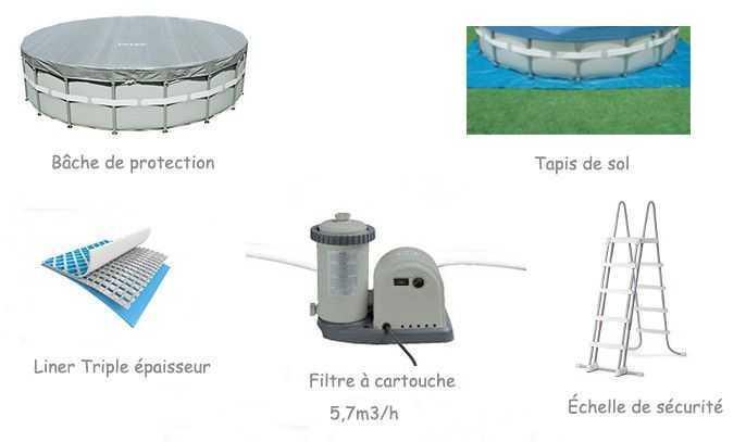 équipement inclus, piscine ultra frame, piscine tubulaire