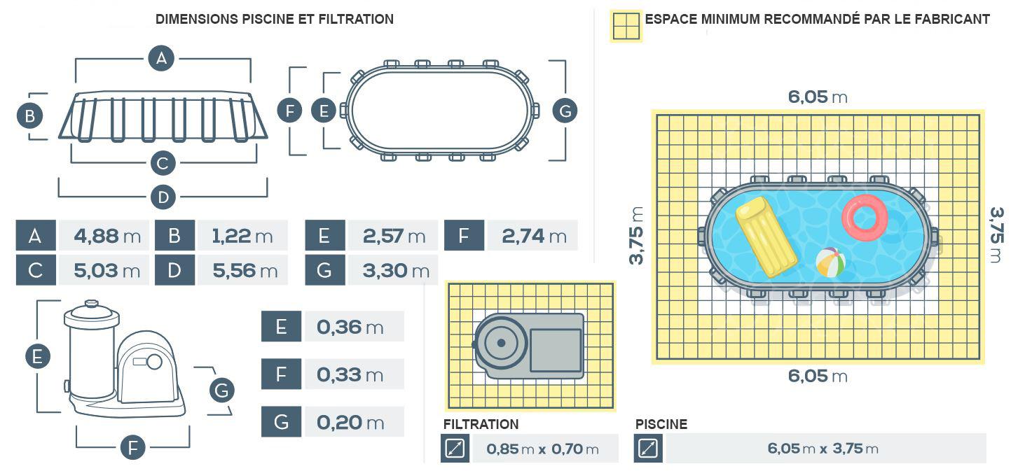 Piscine tubulaire ovale prism frame 5.03 x 2.74 x 1.22m