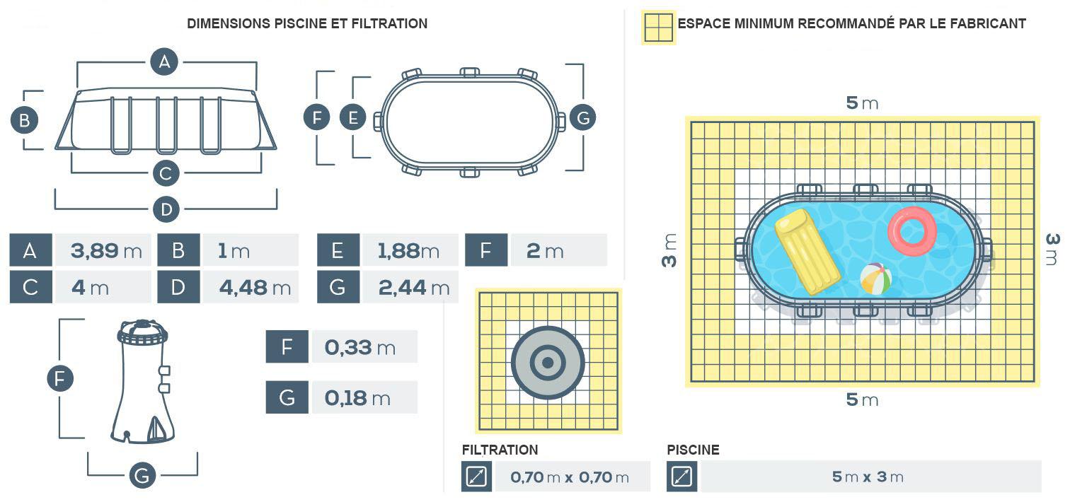dimensions piscine prism frame 4.00 x 2.00 x 1.00m intex