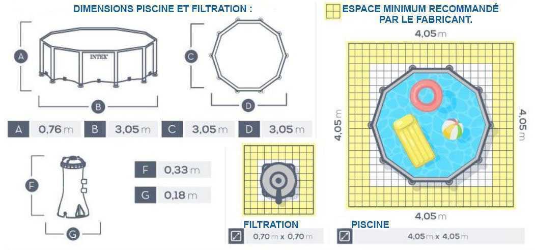 dimensions pour piscine metal frame 305 x 76cm