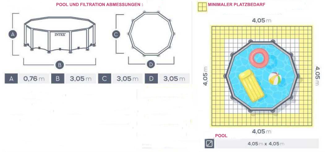 pool prism frame 305 x 76cm