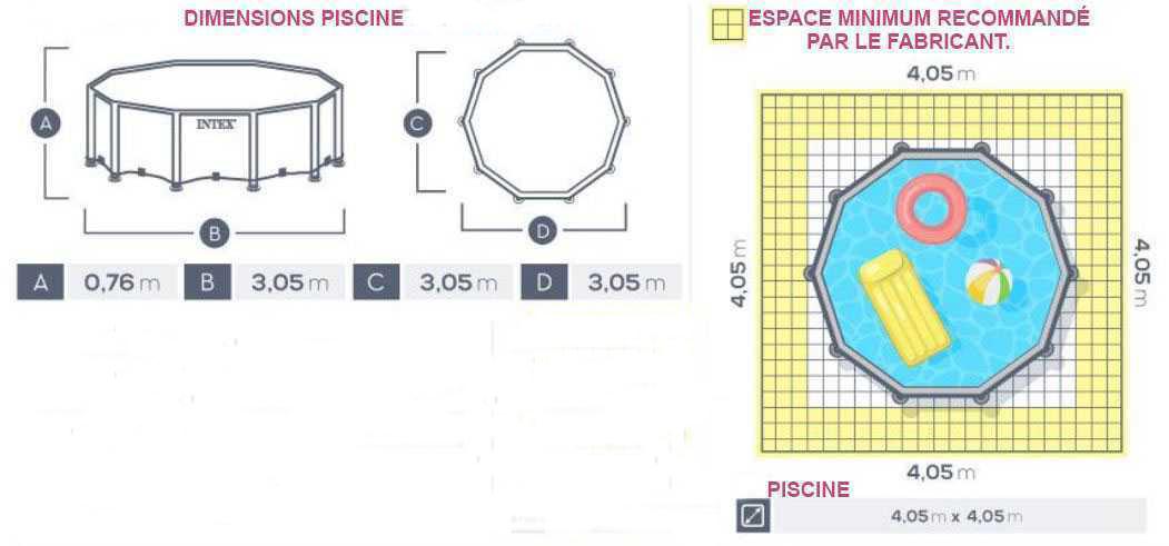 dimensions piscine prism 305 x 76cm