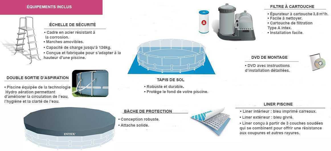 Piscine intex prism frame 4 57 x 1 07m c piscine for Liner piscine 3 50 x1 20