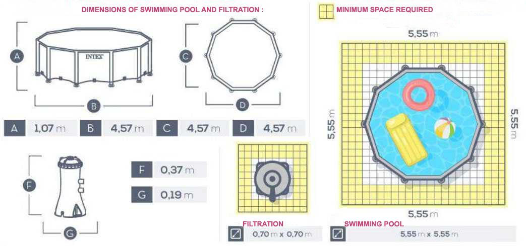 dimensions piscine prism frame intex 457 x 107cm