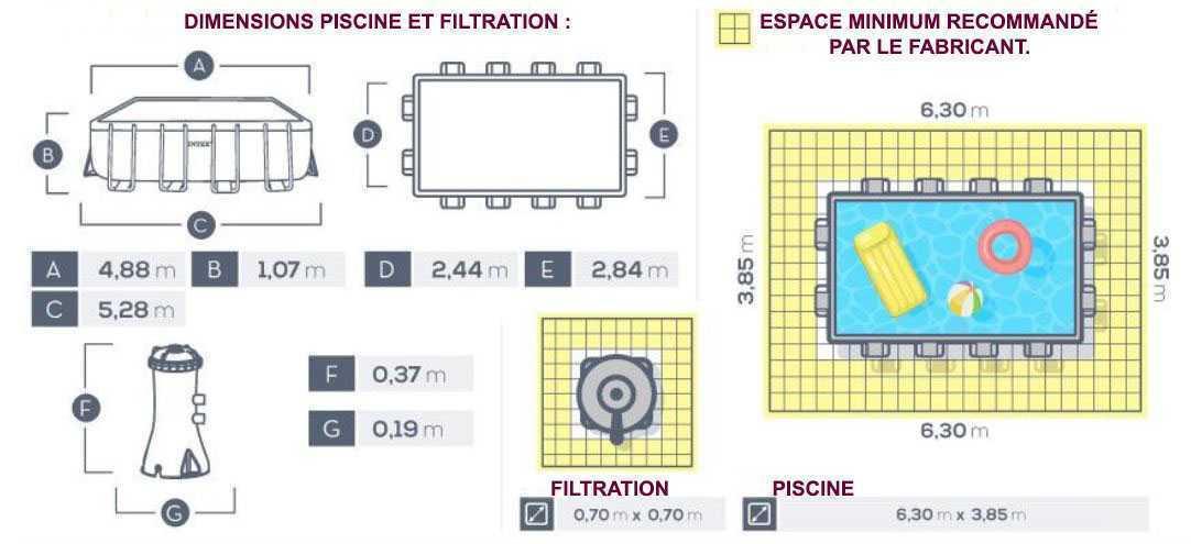 Dimensions pour piscine prism intex 488 x 244 x 107
