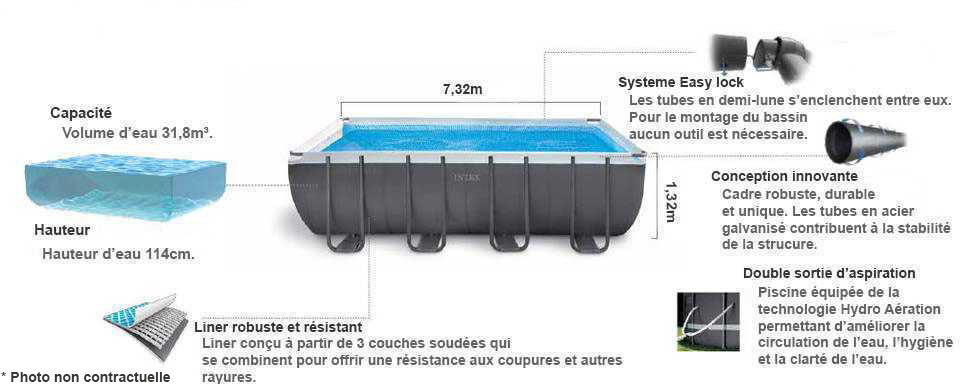 piscine intex ultra silver 7 32 x 3 66 x 1 32m c piscine. Black Bedroom Furniture Sets. Home Design Ideas