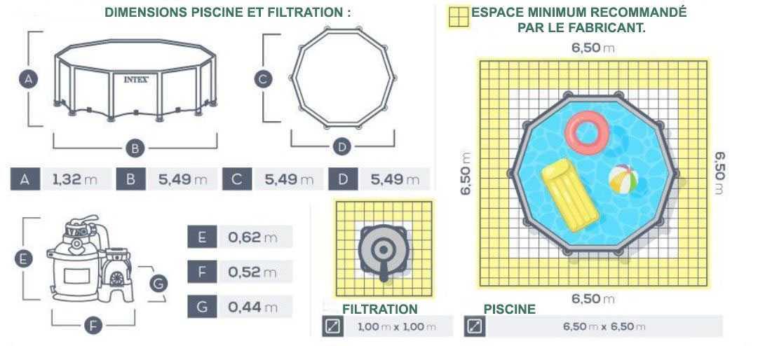 dimensions piscine intex 549 x 132