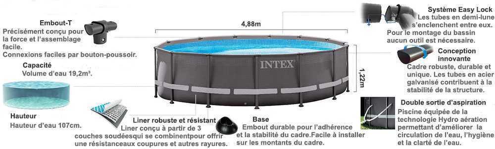 Piscine intex ultra frame 4 88 x 1 22m c piscine for Piscine intex ultra frame 5 49x1 32m filtre a sable